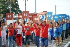 El desfile en Sancti Spíritus. El Día Internacional de los Trabajadores en Cuba se dedicó al 90 cumpleaños de Fidel. (Foto: Vicente Brito/ Escambray)