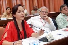 El VII Congreso del Partido. Jennifer Bello Martínez, presidenta nacional de la FEU, interviene en el VII Congreso del Partido.