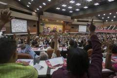 El VII Congreso del Partido. Momentos de las sesiones en plenaria del VII Congreso del Partido Comunista de Cuba.