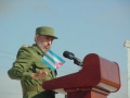 Fidel en Sancti Spíritus. En junio de 2002 presidió la tribuna gigante celebrada en la Plaza de los Olivos.
