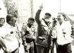 A su llegada a la Fábrica de Siguaney, de Taguasco, los obreros del Cemento le dan una cálida bienvenida.