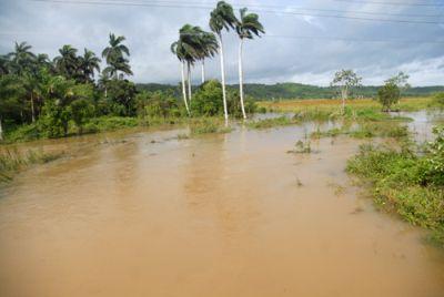 Intersección del dique drenaje Yaguajay con el río Urbaza. (foto: Oscar Alfonso)