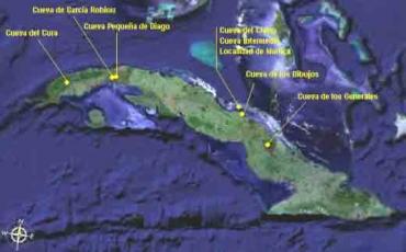 Distribución de las localidades del arte rupestre cubano  con representación de aves