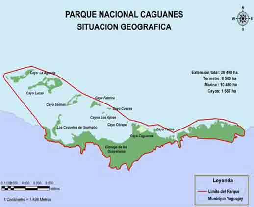 Mapa del Parque Nacional de Caguanes. Yaguajay
