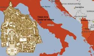 El Vaticano, oficialmente Estado de la Ciudad del Vaticano está enclavado dentro de la ciudad de Roma, en la península Itálica.