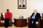 Valerie Amos se entrevistó en Sirio con el canciller Walid al-Moallem.