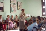 Durante una sesión de clases impartida por Norma García, directora en el municipio cabecera. clases impartida por la directora Norma García.