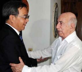 Machado Ventura y Hu Chunhua, dirigente del Partido Comunista de China.