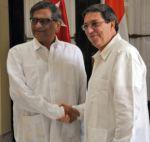 Bruno Rodríguez, canciller de Cuba recibió a su homólogo de la India S. M. Krishna.