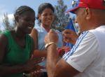 Gleidys Riquene Silva (al centro) se alzó con el oro en la regata del single juvenil femenino.
