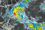 Imagen del satélite de la tormenta Isaac a las seis de la tarde de este domingo.
