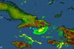 Imagen de la tormenta Isaac tomada por el radar de la Gran Piedra este sábado a las 7 y 15 am.