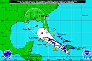 Cono de trayectoria de la Tormenta Tropical Isaac a las 11 a.m.