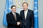 Ban Ki-moon destacó la importante contribución de Cuba a los esfuerzos de paz en Colombia y el cumplimiento de los Objetivos de Desarrollo del Milenio.