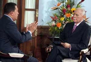 Chávez con el periodista José Vicente Rangel en el espacio José Vicente Hoy.