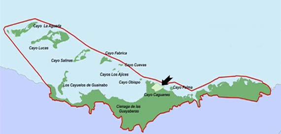 Mapa ubicación geográfica Cayo Caguanes