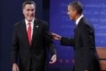 Obama y Romney en el primer debate presidencial.