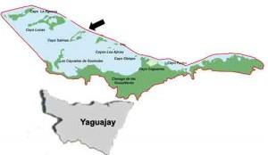Mapa Cayo Salinas. Cayos de piedra. Yaguajay