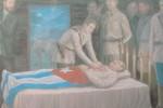 Óleo del pintor espirituano Francisco Rodríguez que recrea los honores póstumos a Serafín.