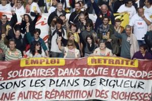 Huelga en Marsella, Francia, en el marco de la jornada europea de protesta contra la austeridad.