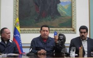Hugo Chávez junto al Vicepresidente Nicolás Maduro y el Presidente de la Asamblea Naciona Diosdado Cabello. Foto: Prensa Presidencial