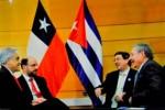 Raúl durante su diálogo con el presidente de Chile, Sebastián Piñera.