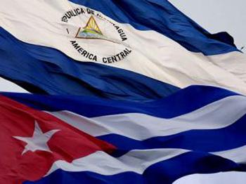 Banderas de Cuba y Nicaragua.
