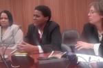 Zuleica Romay (al centro); a su derecha, la embajadora cubana ante los organismos internacionales con sede en Ginebra, Anayansi Rodríguez y a su izquierda, Rebeca Hernández, de la oficina de prensa de la Cancillería de la Isla. (foto: Cubadebate).