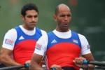 Janier, detrás, entrena ahora con el cienfueguero Adrián Oquendo luego del retiro de Yoennis Hernández.