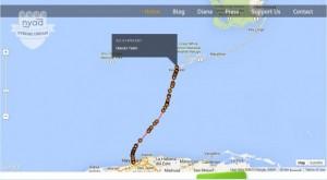Mapa con el recorrido realizado por Diana Nayd.