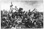 Recreación de la conquista del imperio azteca por las huestes de Hernán Cortés.