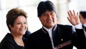 Dilma Rousseff y Evo Morales, presidentes de Brasil y Bolivia, respectivamente.