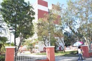 Vista del acceso al edificio desde la Avenida de los Mártires según el proyecto de rehabilitación para las áreas exteriores.