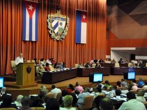 Rodrigo Malmierca interviene durante la Primera Sesión Extraordinaria de la Octava Legislatura del Parlamento cubano.