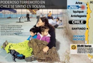 El poderoso terremoto de Chile se sintió también en Bolivia.