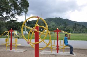 Los gimnasios biosaludables tiene gran aceptación entre los habitantes de la zona montañosa.