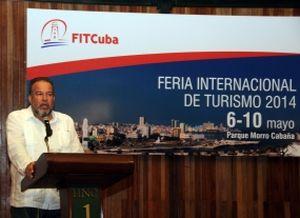 Manuel Marrero durante la ceremonia inaugural de la 34 Feria Internacional de Turismo de Cuba.