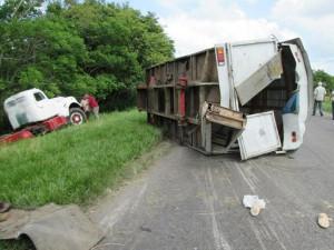 Accidente de tránsito ocurrido este lunes en  Placetas, Villa Clara. Foto de Odalys Paz, de Radio Placetas, para CMHW.