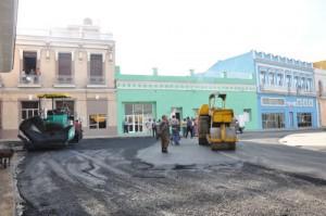 Las calles que rodean el parque Serafín Sánchez fueron totalmente asfaltadas.