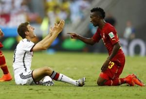 Escena del partido entre Ghana y Alemania.