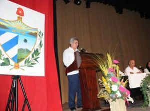 El Presidente de Instituto de Historia de Cuba ponderó las raíces del patriotismo espirituano. (foto: Vicente Brito)