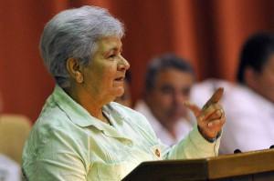 Gladys Bejerano, Contralora General de la República, en la sesión plenaria de la Asamblea Nacional del Poder Popular.  Foto AIN
