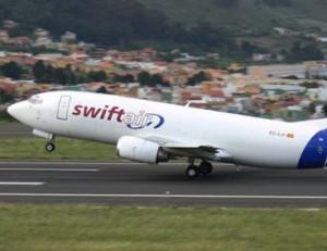 La aeronave pertenece a la compañía española Swiftair.