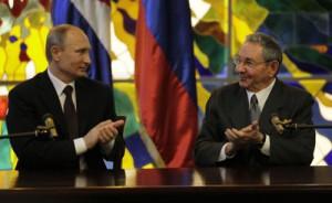 raul y putin durante la firma de acuerdos entre cuba y rusia