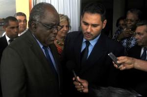 Hifikepunye Pohamba  ofrece declaraciones a la prensa antes de concluir su visita a Cuba. FOTO/Oriol de la CRUZ