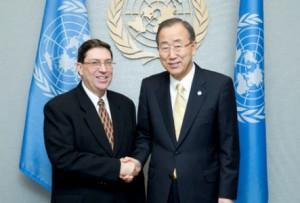 Bruno Rodríguez junto a Ban Ki-Moon.