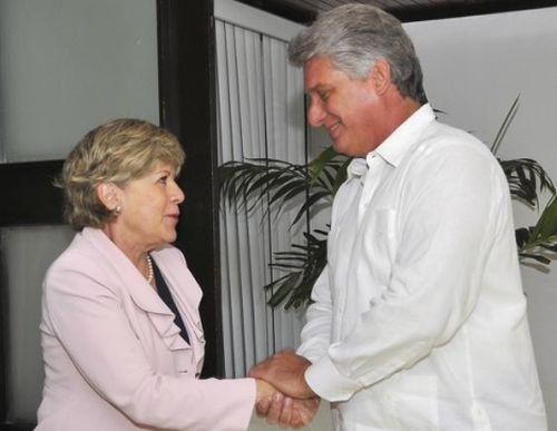 Miguel Díaz-Canel Bermúdez, Primer Vicepresidente de los Consejos de Estado y de Ministros, recibió a Alicia Bárcenas Ibarra, Secretaria Ejecutiva de la Comisión Económica para América Latina y el Caribe (CEPAL).
