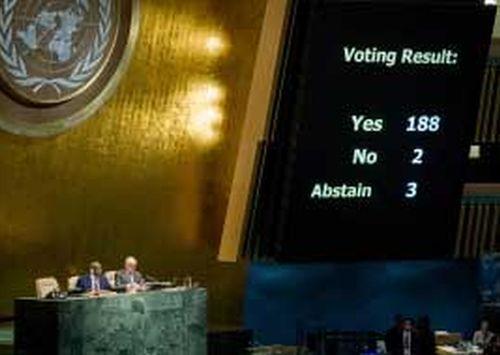 Los resultados de la votación en la ONU arrojaron 188 votos a favor, dos en contra —EE.UU. e Israel— y tres abstenciones —Palau, Micronesia e Islas Marshall.