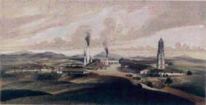 """Ingenio Manaca Iznaga. Litografía de Eduardo Laplante, publicada en el libro """"Los ingenios"""", de Justo Germán Cantero. (1857)"""