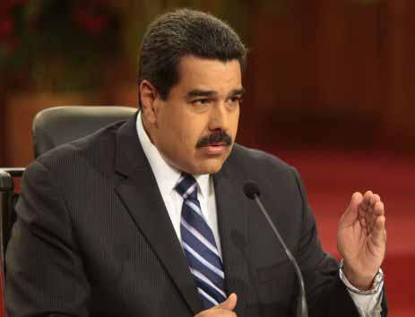 Maduro durante la rueda de prensa con medios nacionales e internacionales.